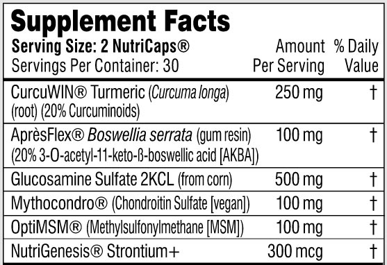 The supplement facts label for Performance Lab Flex showing its exact ingredients and dosages
